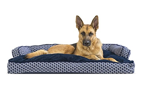 Furhaven Pet Dog Bed | Plush & Décor Comfy Couch Pillow Sofa-Style Couch Pet Bed for Dogs & Cats, Diamond Blue, (Bolstered Orthopedic Sofa Bed)