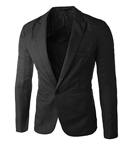 Tops Casual Hombres Un Negro Chaquetas Blazer Encanto Delgado Runyue Abrigo Chaqueta Hombre Traje botón Ajuste de x6PInY