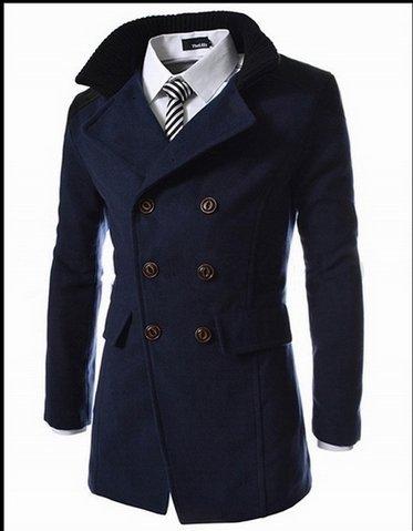 Cyan M WPEW-Hommes's Coats Grande Taille Homme Manteau Manteau Manteau en Laine à Revers