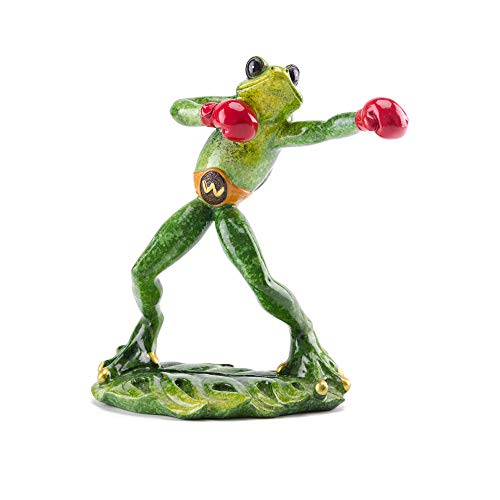 (Funny Boxing Frog Glazed Figurine Resin Craft Sculpture Home and Office Decor)