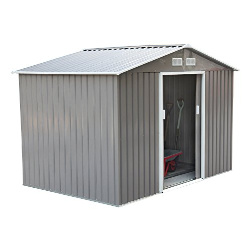 - Outsunny 9' x 6' Outdoor Backyard Metal Garden Utility Storage Shed - Gray/White