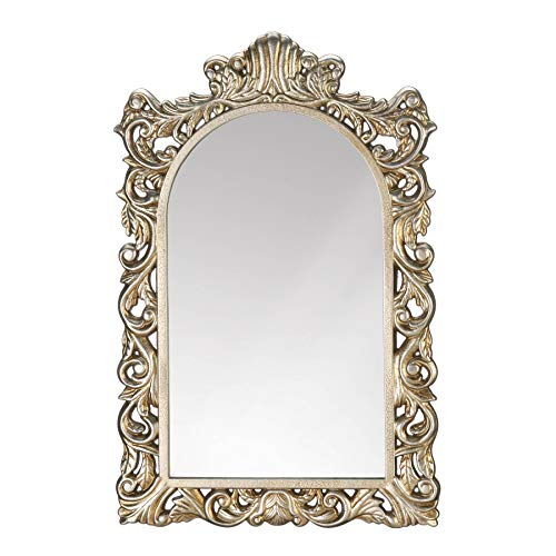 DMS Elegant Baroque Style Intricately Detailed Framed Arch Shaped Golden Hanging Wall Mirror