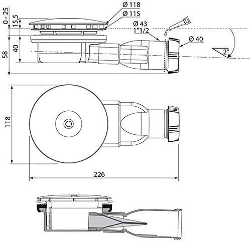Wirquin 30720138 – Desagüe de ducha extra-plate D90: Amazon.es ...