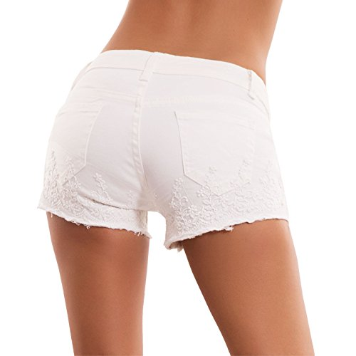 pant perline ricamo donna nuovi M3709 skinny Bianco bianchi Pantaloncini jeans Toocool shorts fY0wT4xq
