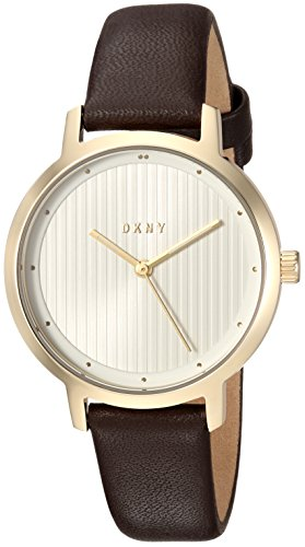 DKNY Women's 'The Modernist' Quartz Stainless Steel and Leather Casual Watch, Color:Brown (Model: NY2639)