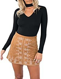 Blooming Jelly Women's Choker Long Sleeve Knitted Sweater Blouse Tops