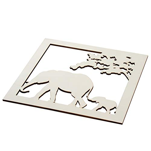 (Genie Crafts 2-Piece Unfinished Wooden Elephant Cutout, Wall Art Decor for Painting, DIY Wood Crafts, and Signs, 11.6 x 0.2 Inches)