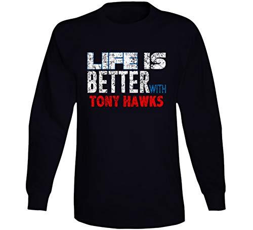 Life is Better with Tony Hawks Comedian Comedy Worn Look Cool Fan Long Sleeve T Shirt M Black