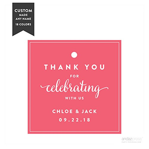 Andaz Press Personalized Square Gift Tags, Wedding, Thank You for Celebrating With Us, 24-Pack - Custom Made Any Name