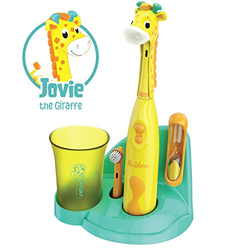 Brusheez Children's Electronic Toothbrush Set – Includes Battery-Powered Toothbrush, 2 Brush Heads, Cute Animal Head Cover, 2-Minute Sand Timer, Rinse Cup, and Storage Base - Jovie the Giraffe