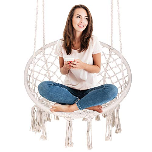 ENKEEO Hammock Chair Macrame Swing, Hanging Rope Chair Cotton Fabric for Indoor & Outdoor Home...