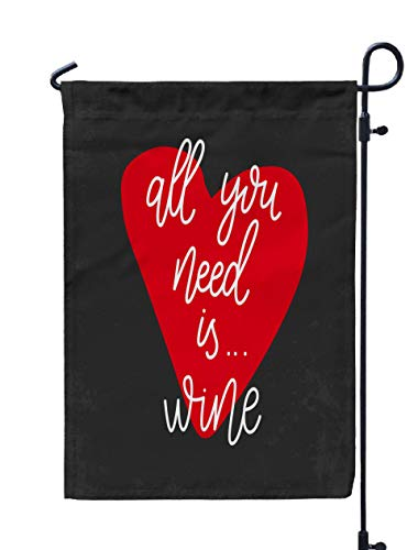 Jacrane Welcome Small Garden Flag 12X18 Inches All You Need Wine Alcohol Double-Sided Seasonal House Yard Flags Decorative ()