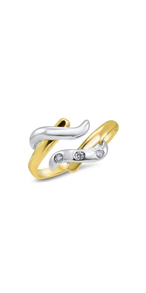 14k Yellow Gold and White Gold Toe Ring Clear Triple CZ. Size Adjustable by Nose Ring Bling