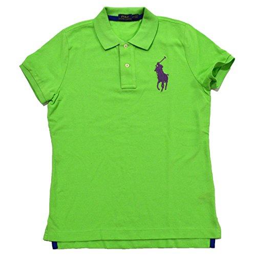 Tri Color Pique Polo - Ralph Lauren Women's Big Pony Tri-Color Mesh Polo Shirt (M, Aruba Lime Purple Pony)