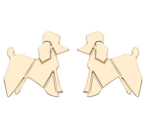 Poodle Jewelry (WIIPU Women Lovely Balloon Poodle Dog Ear Stud Earrings(A1110)-Gold)