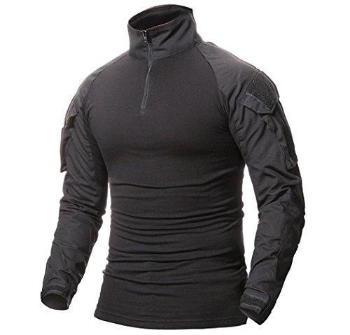 ShallGood T-shirt technique à manches longues pour homme - style militaire - idéal pour l'extérieur, le camouflage, la… 1