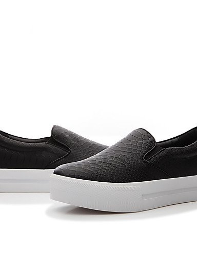 ZQ Zapatos de mujer - Tacón Plano - Comfort / Bailarina - Planos - Oficina y Trabajo / Casual / Fiesta y Noche - Sintético - Negro / Beige , black-us5.5 / eu36 / uk3.5 / cn35 , black-us5.5 / eu36 / uk beige-us6.5-7 / eu37 / uk4.5-5 / cn37