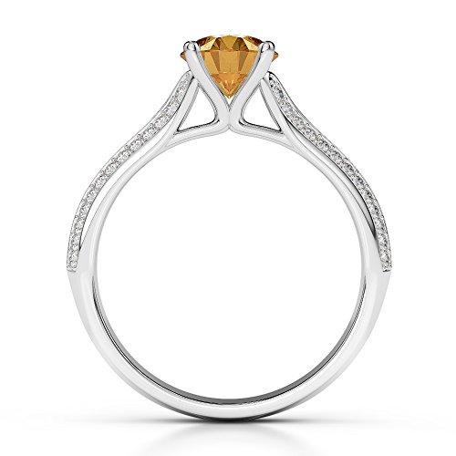 Or blanc 18carats 1CT G-H/VS sertie de diamants ronds Cut Citrine et bague de fiançailles Agdr-1200