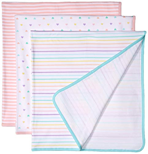 Amazon Essentials Baby 3-Pack Swaddle Blanket, Girl Heart, One Size