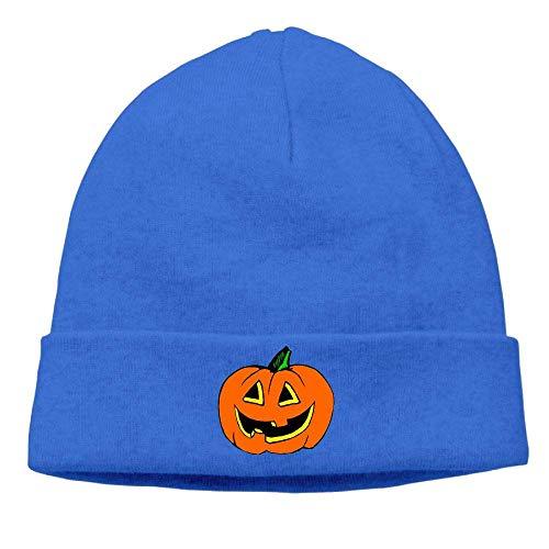 Men's&Women's Halloween Pumpkin Clipart Soft Knit Beanie Caps RoyalBlue