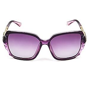 Leckirut Women Shades Classic Oversized Polarized Sunglasses 100% UV Protection Eyewear purple frame/purple lens