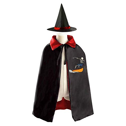 69PF-1 Halloween Cape Matching Witch Hat Skeleton Surfer Wizard Cloak Masquerade Cosplay Custume Robe Kids/Boy/Girl Gift Red