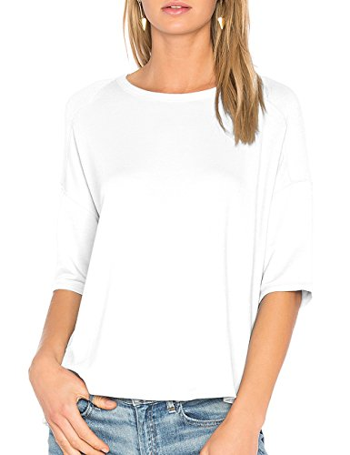 ALLY-MAGIC Womens Casual Cotton T-Shirt 3/4 Sleeves Casual Loose Fit Top Pullover Simple Blouse C6722 (XL, White) ()