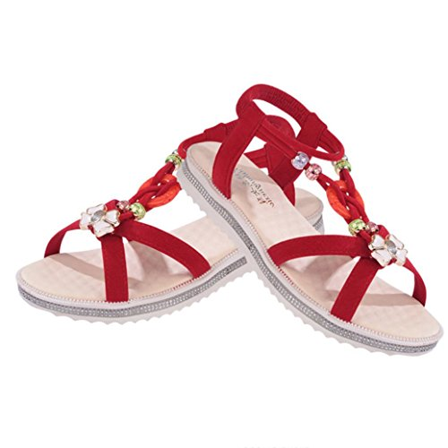 Transer Ladies Flat Sandals- Women Summer Roman Sandals Comfortable Beach Shoes Casual Red FQDrV8al