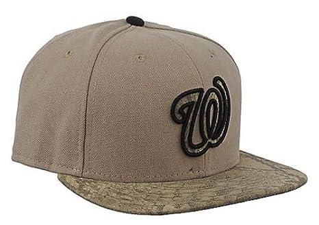 release date 14848 41218 Washington Nationals MLB 9Fifty City Summit Khaki Snake Strapback Cap Hat,  M L