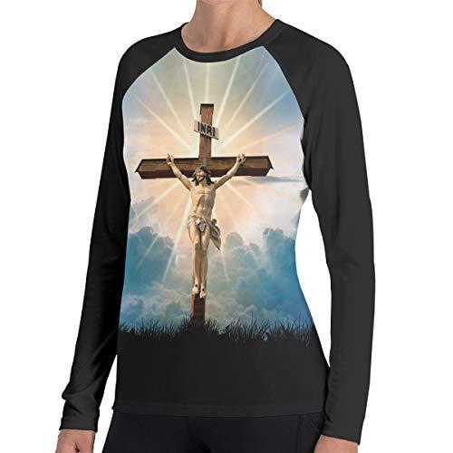 Illusional Shining Cross Women's Casual Long Sleeve Round Neck Loose Tunic T-Shirt Blouse Tops XXL
