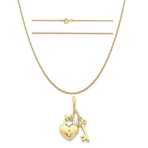 14k Yellow Gold Polished Heart and Key Slide Pendant on 14K Yellow Gold Rope Chain Necklace, 20