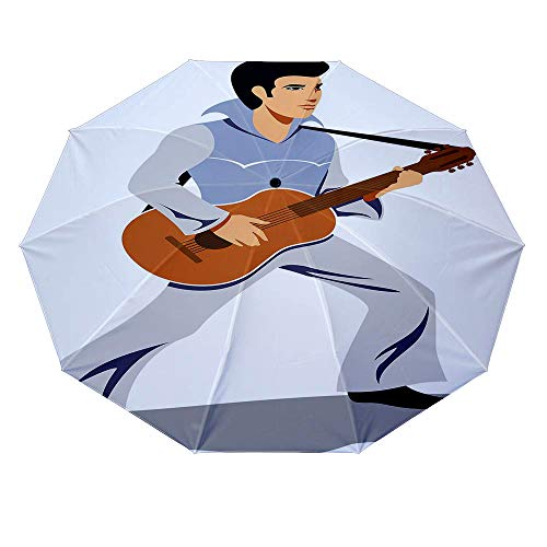 10 ribs multi-function automatic on/off - sun protection - rainproof - windproof umbrella, theme - Elvis Presley Decor Musician Artist Guitar Instrument Rock and Sound Cartoon Light -