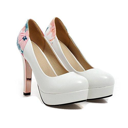 AllhqFashion Damen Rund Zehe Ziehen auf PU Leder Hoher Absatz Pumps Schuhe Weiß