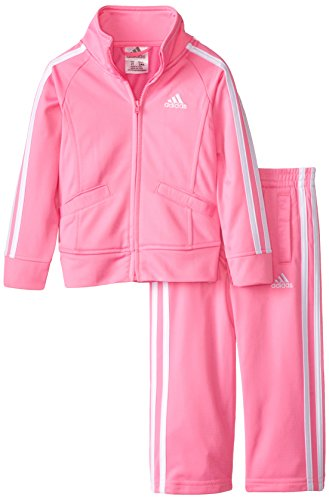 adidas Toddler Girls' Tricot Zip Jacket and Pant Set, Pink Basic, 2T