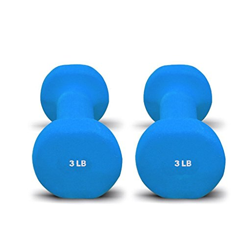 Cheap Pair of Bespolitan Sports Dumbbells with Non-Slip Grip, Choose Your Dumbbell Weight 3lb Blue