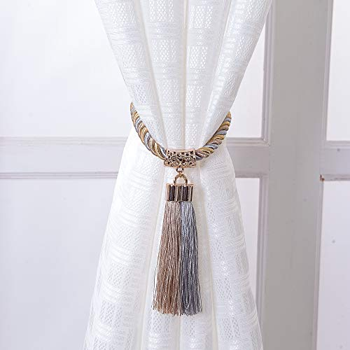 PRAVIVE 1 Pair Curtain tie Back Tassel Curtain Rope Tiebacks for Home Decoration (Grey & Beige) ()