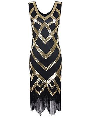 PrettyGuide Women's 1920's Vintage Beads Sequin Crisscross Fringe Hem Flapper Dress