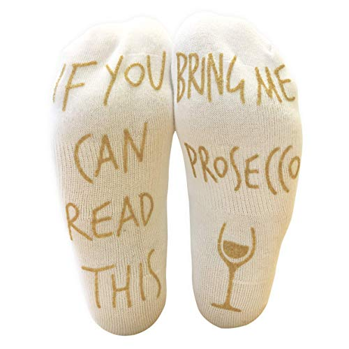 Keklle 'If You Can Read This Bring Me Prosecco' Funny Ankle Socks - Perfect Wine Lover Gift!, White,  6-12 (Veneto Prosecco Nv Sparkling Wine)