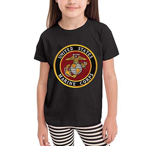 USMC-Eagle Globe and Anchor Short Sleeves T-Shirt Girls' Boy Black (Emerson Shirt Black)