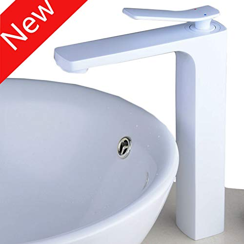 Beelee Tall bathroom vessel sink faucet,white,single handle,one hole