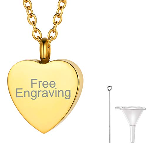Richsteel Engraved Gold Heart Cremation Necklace with Rolo Chain Personalized Locket Urn Pendant for Human Ashes Adult Memorial Gift