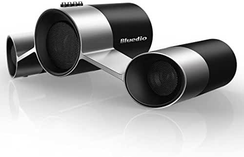 Bluedio US (UFO) Wireless Bluetooth Satellite Speaker System with Mic, 10W Output Power from 3 Drivers (Black and Silver)