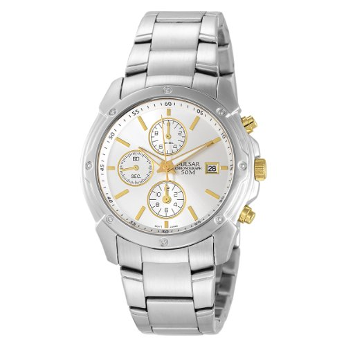 (Pulsar Men's PF8337 Chronograph Silver Dial Two-Tone Stainless Steel Watch)