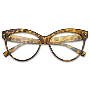 Sunglass Stop - Oversized Round High Pointed Vintage Mod Clear Lens Uv400 Cat Eye Glasses (Tortoise , Clear )
