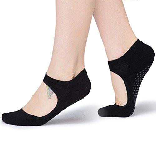 Women's Yoga Grip Socks for Barre Pilates Ballet Dance Low Cut Socks Non Slip Skid Cotton Ankle Sport Toe Shoes One Size 5-10