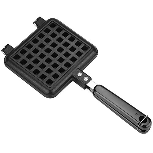 (Waffle Mould Cast Aluminum Base Stovetop Belgium Waffle Iron Household Kitchen Gas Non-Stick Waffle Baking Pan Mold Press Plate Baking Tool)