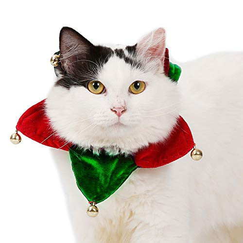 (Cywulin Jingle Bells Jingling Christmas Pet Dog Cat Collar Holiday Accessories Knitted Velvet Scarf Bandana Costume Supplies (Red,)