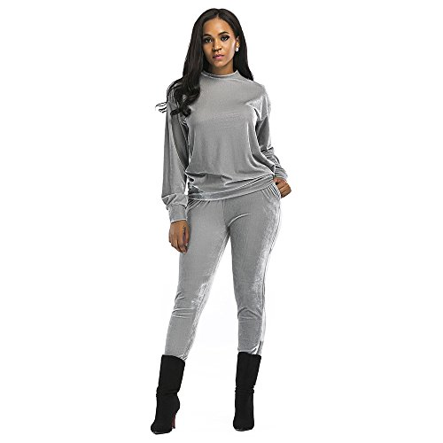 UHBGT Women Autumn Winter Tracksuit Velvet Jacket and Pants 2 Piece Sports Suit for Running Cycling Hiking Grey L