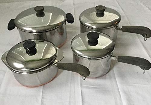 Lot: Revere 4 qt stock pot; 3qt, 2qt & 1.5qt Saucepans, Double Boiler incert & Lids Copper Bott