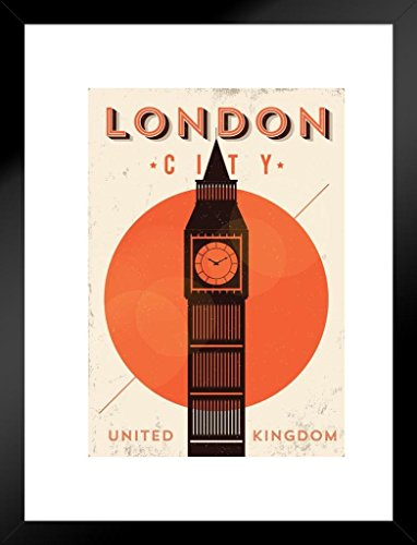 Poster Foundry London City Big Ben Retro Travel Art Matted Framed Wall Art Print 20x26 inch